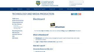 Blackboard – Technology and Media Production - Eastman School of ...