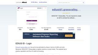 Ediusid1.grassvalley.com website. EDIUS ID - Login.