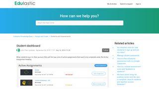 Student dashboard – Edulastic Knowledge Base