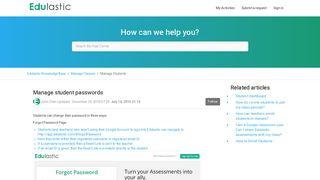 Manage student passwords – Edulastic Knowledge Base