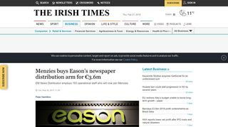 Menzies buys Eason's newspaper distribution arm for €3.6m