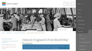 Historic England's First World War Experts | Historic England