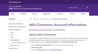 eRA Commons Account Information   OSR - Office for Sponsored ...