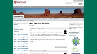 Week 2's E-tivity for Blogs — University of Leicester