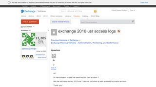 exchange 2010 usr access logs - Microsoft