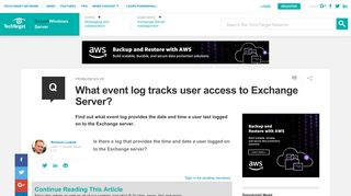 What event log tracks user access to Exchange Server?