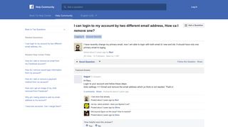 I can login to my account by two different email address ... - Facebook