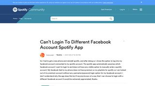 Can't Login To Different Facebook Account Spotify ... - The ...