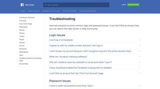 Troubleshooting | Facebook Help Center | Facebook