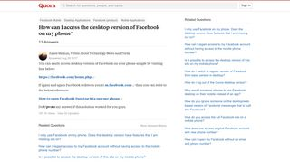 How to access the desktop version of Facebook on my phone - Quora