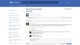 How do I turn off auto login?   Facebook Help Community   Facebook