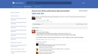 How do I turn off this profile picture login permanently?   Facebook ...