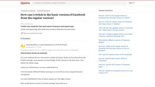 How to switch to the basic version of Facebook from the regular ...