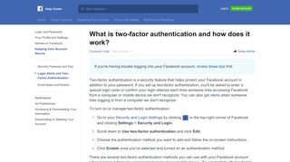 What is two-factor authentication and how does it work? | Facebook ...