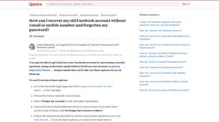 How to recover my old Facebook account without Gmail or mobile ...