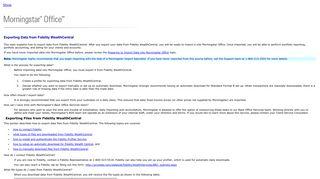 Exporting Data from Fidelity WealthCentral - Morningstar Log In