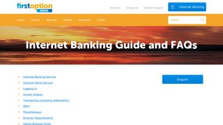 Internet Banking Guide and FAQs - First Option Credit Union
