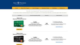Secured Credit Card Options - First Progress