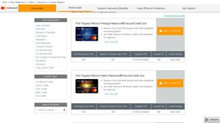 First Progress Mastercard Credit Cards