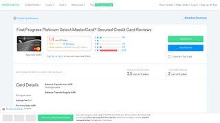 First Progress Platinum Select MasterCard® Secured Credit Card ...