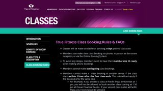 True Fitness Class Booking Rules & FAQs