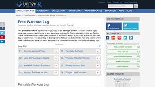 Free Printable Workout Log and Blank Workout Log Template - Vertex42