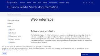 Web interface - Flussonic