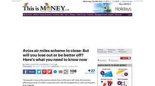 Avios scheme closes - everything you need to know | This is Money