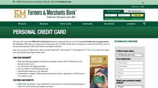 Personal Credit Card | Farmers & Merchants Bank