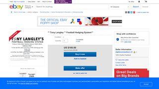 ** Tony Langley ** Football Hedging System**   eBay