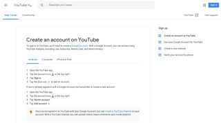 Create an account on YouTube - Android - YouTube Help