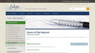 Status of My Request | FSBPT