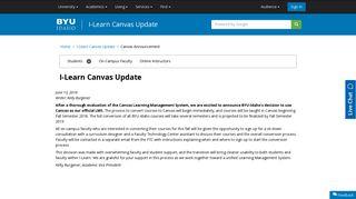 I-Learn Canvas Update - BYU-Idaho