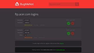 ftp.acer.com logins - BugMeNot