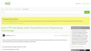 Acer's FTP site & what I found there (Acer Empowering Technology ...