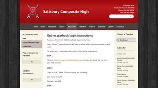 Online textbook Login instructions | Salisbury Composite High