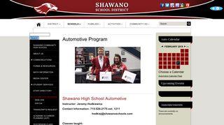 Shawano School District - Automotive Program