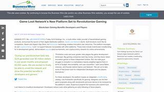 Game Loot Network's New Platform Set to Revolutionize Gaming ...