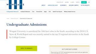 Undergraduate Admissions - Wingate University