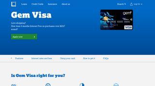 GEM Visa Card - Interest Free Credit Card | Latitude Financial