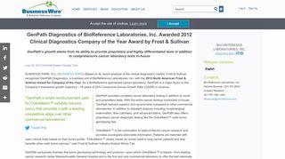 GenPath Diagnostics of BioReference Laboratories, Inc. Awarded ...