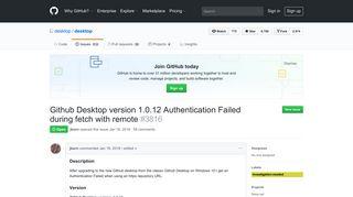 Github Desktop version 1.0.12 Authentication Failed during fetch ...