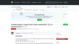 Authentication Failed (with valid credentials, CLI is working ... - GitHub