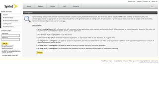 Sprint.net IPv4/IPv6 Looking Glass