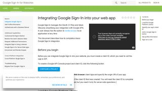 Integrating Google Sign-In into your web app   Google Sign-In for ...