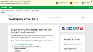 Log in to my administrator account and manage email ... - GoDaddy
