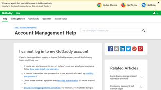 I cannot log in to my GoDaddy account | Account Management ...