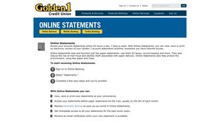 Golden 1 Credit Union | Online Statements