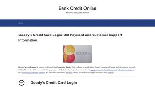 Goody's Credit Card Login, Bill Payment and ... - Bank Credit Online