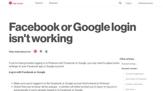 Facebook or Google login isn't working   Pinterest help